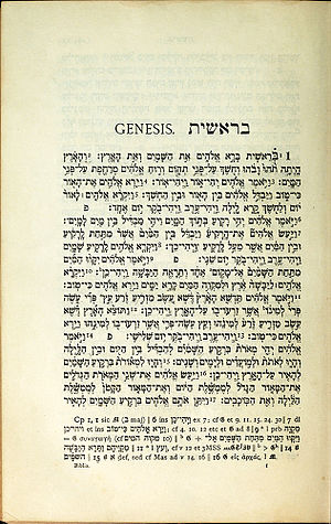 Biblia Hebraica (Kittel) - A sample page from the BH1 edition of Biblia Hebraica Kittel from 1909 (Genesis 1:1-17a).