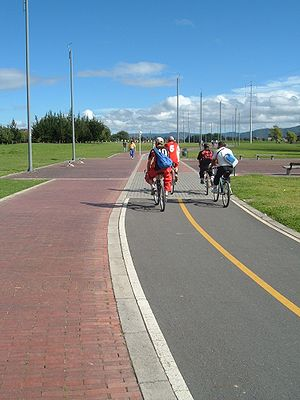 Bogotá's Bike Paths Network - Arbour and bike path on Rio Juan Amarillo