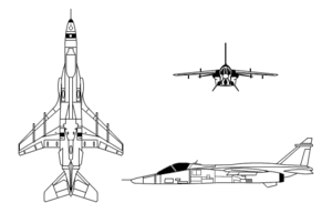 Orthographically projected diagram of the SEPECAT Jaguar.