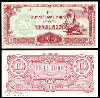 Japanese invasion money issued by the Japanese Military Authority, as a replacement for local currency during the Japanese occupation of Burma in the Second World War