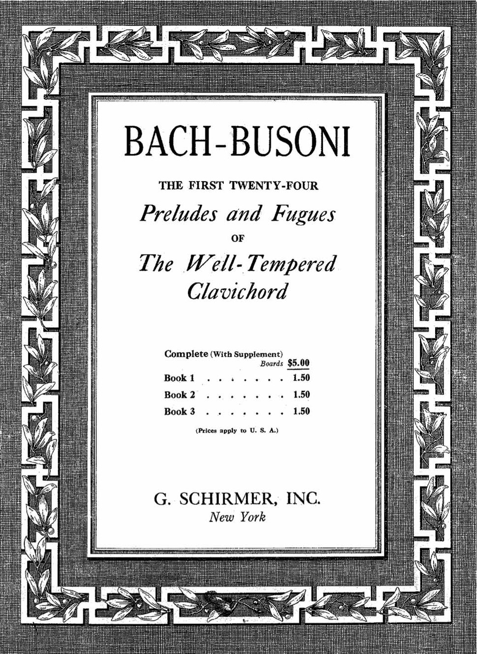 Bach-Busoni- Well-Tempered Clavichord (1894) cover