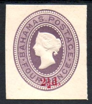 Cut square (philately) - A Bahamas 2½d on 4d imprinted stamp cut square from a piece of postal stationery.