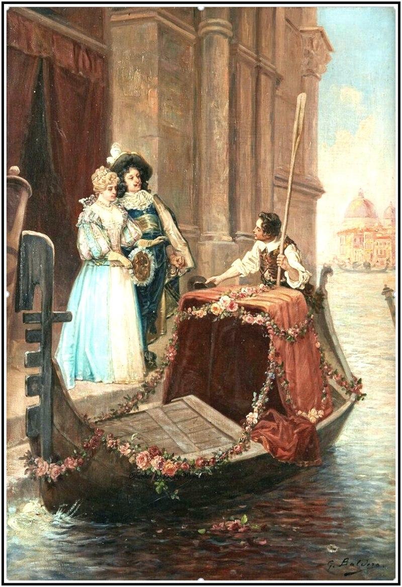 Луиджи Джорджио Бальдеро. «Отъезд на гондоле на фоне площади Сан-Марко в Венеции». Вторая половина XIX века