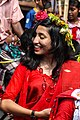 Bangladeshi girl wearing draping sari with flower crown at Pohela Boishakh celebration 2016 (04).jpg