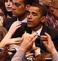 Barack Obama and supporters, February 4, 2008 (cropped1).jpg