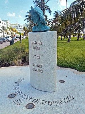 South Beach - Barbara Capitman Monument in Lummus Park