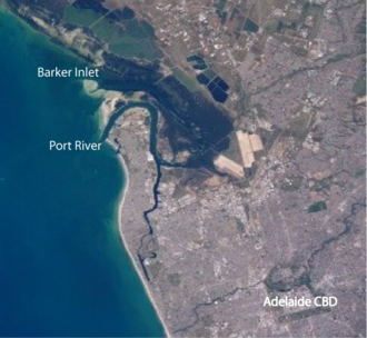Port River - The Port River in relation to Adelaide city centre, the redirected River Torrens, and the adjacent Barker Inlet
