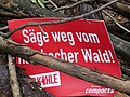 Barrier with protest-signs in the Hambach forest 01.jpg