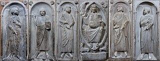Christ (le), Chérubin (un), Séraphin (un), deux anges, deux personnages bénissant