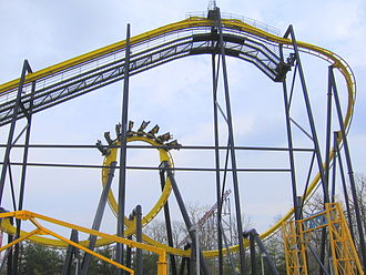 Bolliger & Mabillard - An inverted model with the angled drop, common on inverted coasters, Batman: The Ride at Six Flags Great Adventure