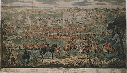 Woodcut painting by David Morier of the Battle of Culloden first published just six months after the battle in October 1746 Battle of Culloden woodcut painting 1746.jpg