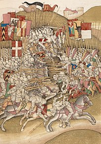 Depiction of the Battle of Laupen in the Spiezer Chronicle