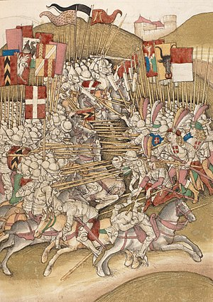 History of Switzerland - The Battle of Laupen (1339) between Swiss forces and an army of the Dukes of Savoy (Diebold Schilling the Elder, 1480s).