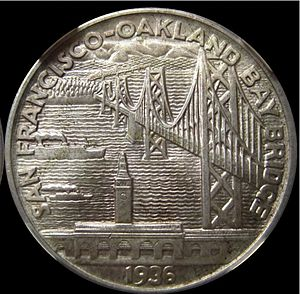 San Francisco–Oakland Bay Bridge half dollar - Reverse