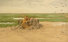 Painting of a kneeling hunter shooting at a group of birds flying above a marsh