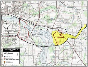 Map of Bayou Fourche Battlefield core and study areas by the American Battlefield Protection Program