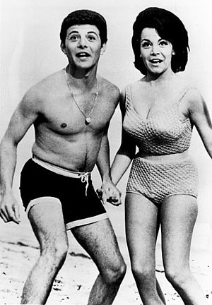 1960s in Western fashion - Publicity photo of Frankie Avalon and Annette Funicello for Beach Party films (c. 1960s). Funicello was not permitted to expose her navel.