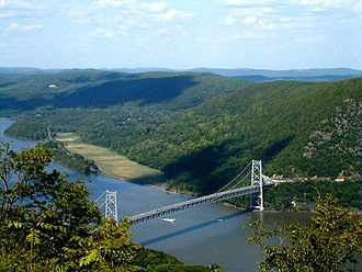 Upstate New York - The Bear Mountain Bridge across the Hudson River, as seen from Bear Mountain. This region has been considered both Upstate and Downstate.