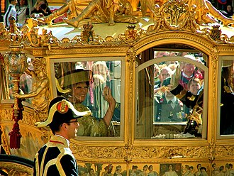Beatrix of the Netherlands - Queen Beatrix and her son, Willem-Alexander in the Golden Coach on Prinsjesdag 2007, the day she gives the annual speech from the throne outlining the government's agenda for the upcoming parliamentary year.