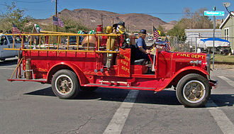 Beatty, Nevada - Beatty Volunteer Fire Department antique fire engine in a 2006 parade