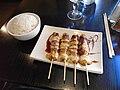 Beef and cheese skewers, Yakitori, Madama restaurant, Paris 001.jpg