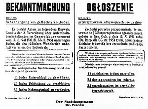 Rescue of Jews by Poles during the Holocaust - Image: Bekanntmachung General Government Poland 1942