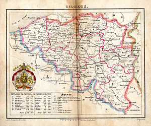 Belgium in the long nineteenth century - Map of Belgium in the 1850s