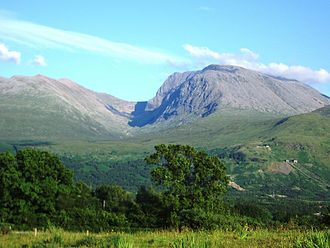 Ben Nevis - Ben Nevis from Banavie. The summit is beyond and to the left of the apparent highest point.