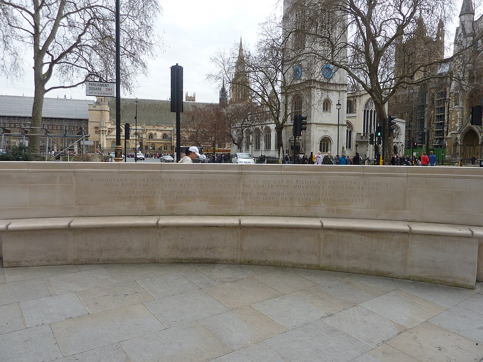 "Bench and inscription outside UK Supreme Court, ""Lines for the Supreme Court"" by Andrew Motion"