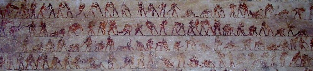 Detail of the wrestling scenes in tomb 15 (Baqet III) at Beni Hasan Beni Hassan tomb 15 wrestling detail.jpg
