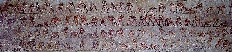 Detail of the wrestling fresco in tomb 15 at Beni Hasan. Beni Hassan tomb 15 wrestling detail.jpg