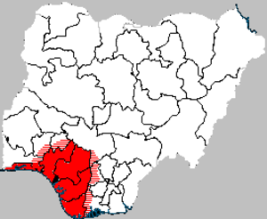Ewuare - The size of the Benin Empire at its height.  Borders are modern states of Nigeria.