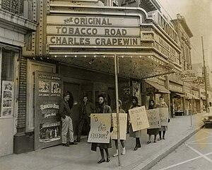 Bennett College - Bennett students picketing the segregated National Theatre.