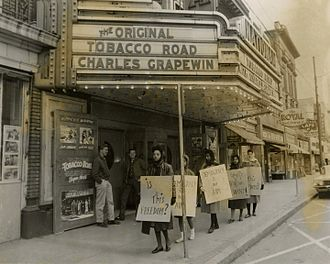 Bennett College - Bennett students picketing the segregated National Theatre.