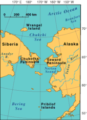 Bering strait crossing wikipedia map showing the proximity of chukchi peninsula in russia to seward peninsula in america gumiabroncs Image collections