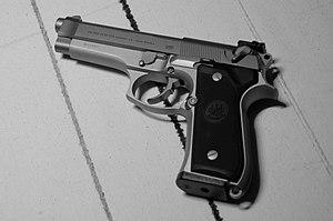 Beretta 92 - A Beretta 92FS Inox stainless steel pistol.