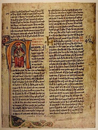 Bergsbók - A sheet of Bergsbók manuscript and miniature. Royal Library of Stockholm, Sweden.