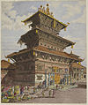 Bhairava Temple, Bhatgaon - Oldfield collection (1852) - BL WD 3318.jpg