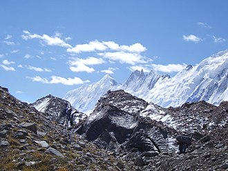 "Karakoram - ""Karakoram"" is a Turkic word referencing the mountains' black gravel, as seen near Pakistan's Biafo Glacier."
