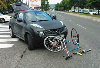Bicycle safety - Cyclist hit by a car