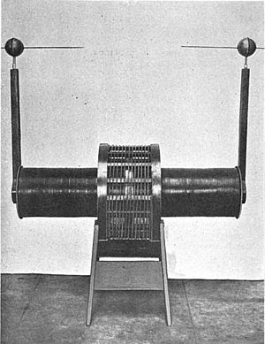 Tesla coil - Bipolar coil, used in the early 20th century. There are two high voltage output terminals, each connected to one end of the secondary, with a spark gap between them. The primary is 12 turns of heavy wire, which is located at the midpoint of the secondary to discourage arcs between the coils.