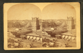 Bird's-eye view of Centennial Grounds from (...) R.R. Depot, from Robert N. Dennis collection of stereoscopic views.png