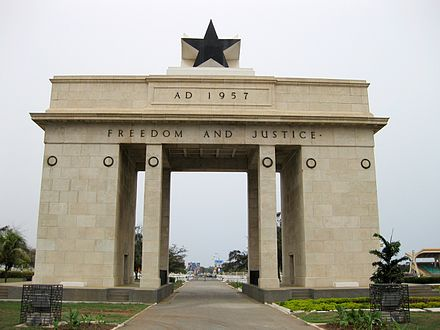 The Black Star Monument in Accra, built by Ghana's first president Kwame Nkrumah to commemorate the country's independence Black Star Monument, Accra, Ghana.JPG