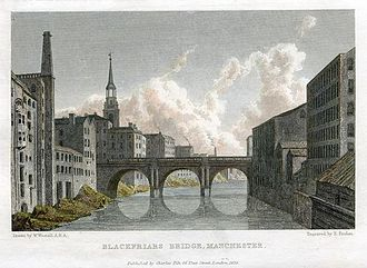 Blackfriars Bridge, Manchester - Engraving by Edward Finden, c.1830