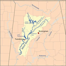 Carte du bassin de la rivière Black Warrior.