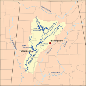 Map of the Black Warrior River watershed.