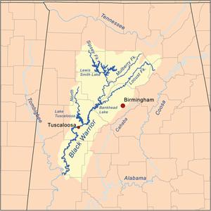Locust Fork of the Black Warrior River - Image: Blackwarriorrivermap