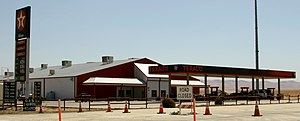 Blackwells Corner, California - The Texaco gas station at the SR 46 and SR 33 intersection marks the location of Blackwells Corner