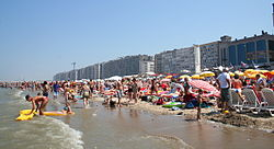 Blankenberge beach on a hot summer day