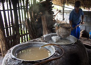 Open-pan salt making - Salt is still produced in the traditional way in Bo Kluea, Nan Province, Thailand